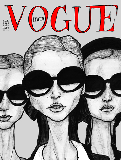 Drawing Danny Roberts did of a chanel collection and made into a Vogue Italia Cover