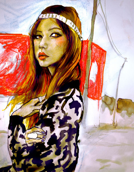Fashion Artist Danny Roberts newst portrait of blogger sensation Rumi Neely of Fashion Toast blog