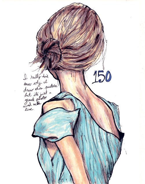 This is artist Danny roberts, 150th drawing out of his character sketchbook. it is of australian model Gemma Ward's back