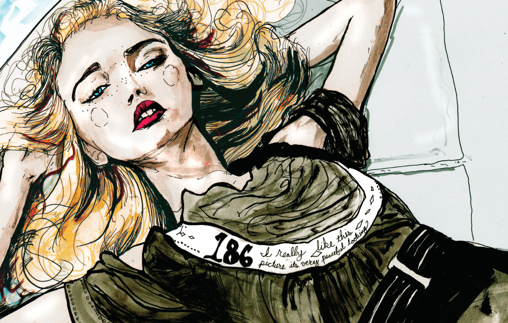 This Drawing is page 168 out of Danny Roberts Character Sketchbook, The Drawing is from Volume two of the book and is of Australian Super Model Gemma Ward in a Chanel Ad.