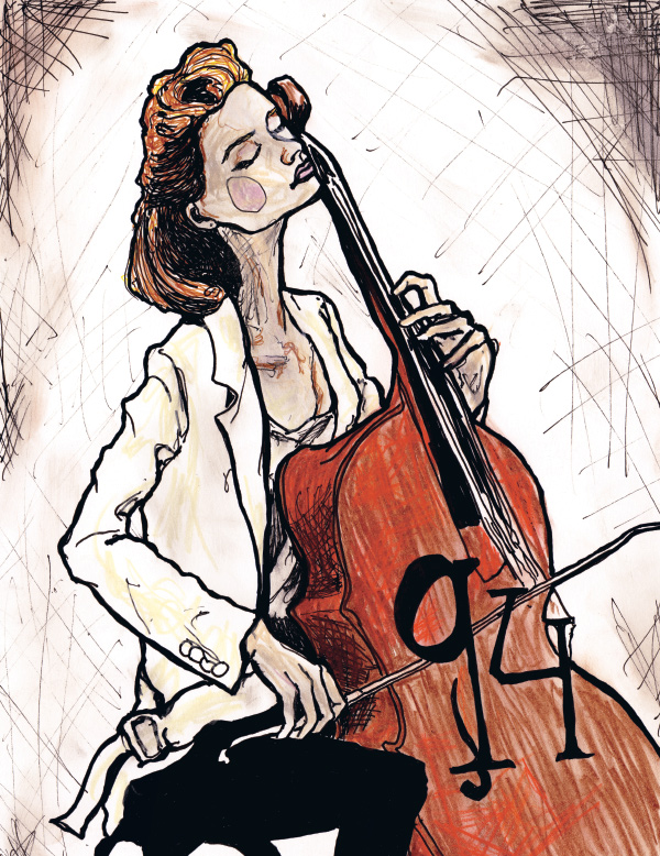 Danny Roberts Painting of Model Gemma Ward sitting playing the cello