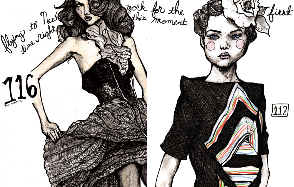 Danny ROberts Fashion Illustration Character Sketchbook Drawing of Gemma Ward
