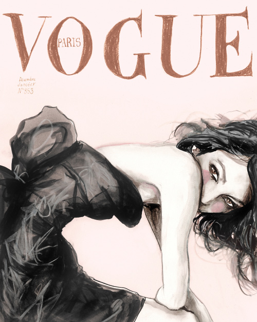 Danny Roberts Drawing of Sofia Coppola on the cover of Vogue Paris