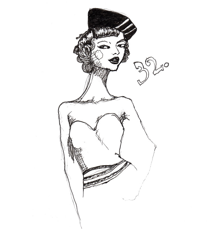 Danny Roberts drawing of Gemma ward her styling is from the 1950s