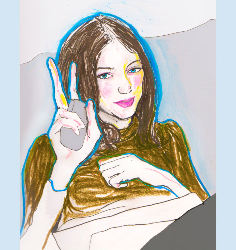 Danny Roberts Drawing of Sophie ward sitting on the couch giving the peace sign
