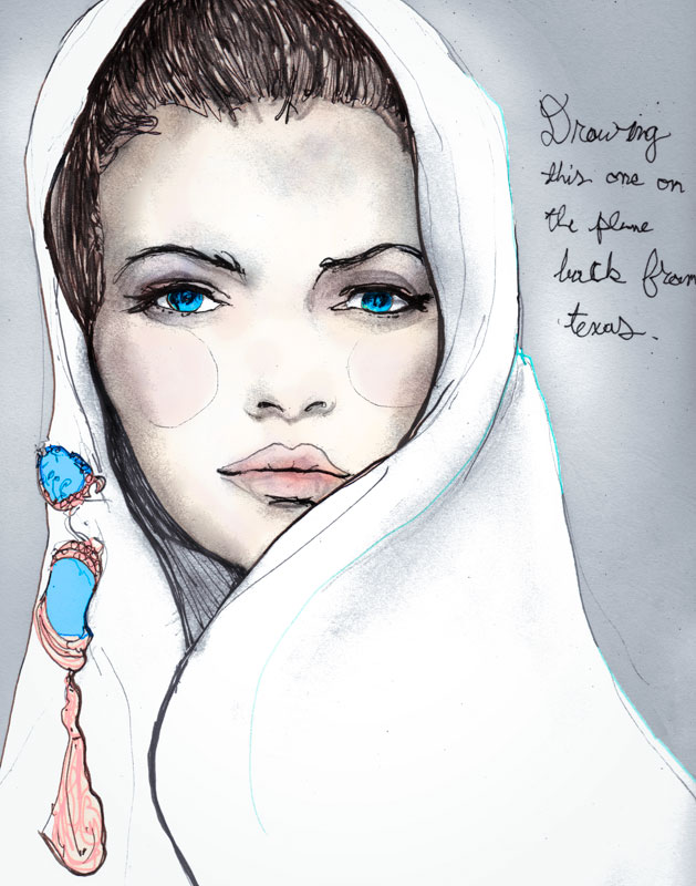Danny Roberts Reinterpretation as a Fashion Illustration of Vogue Cover, its of a girls face