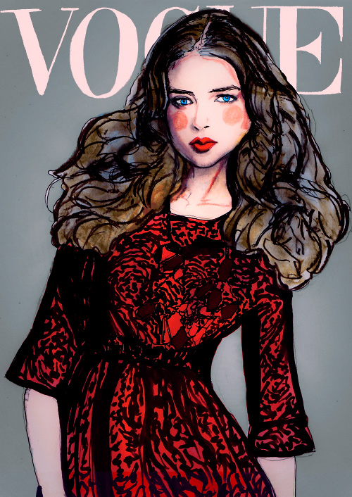 Danny Roberts Painting of Latin America Vogue with Model Ali Michael