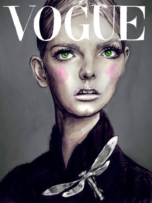 Danny Roberts Painting of Model Lydia Hearst on the Cover of Vogue