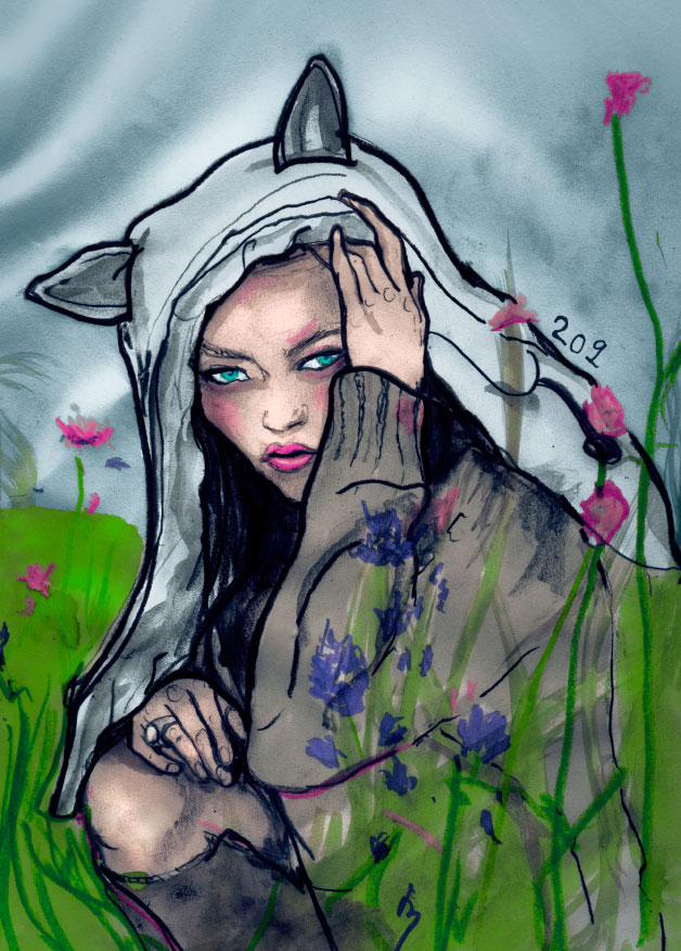 a Fashion Painting of Sasha Pivovarova wearing a jacket with pointy ears by Artist Danny Roberts.