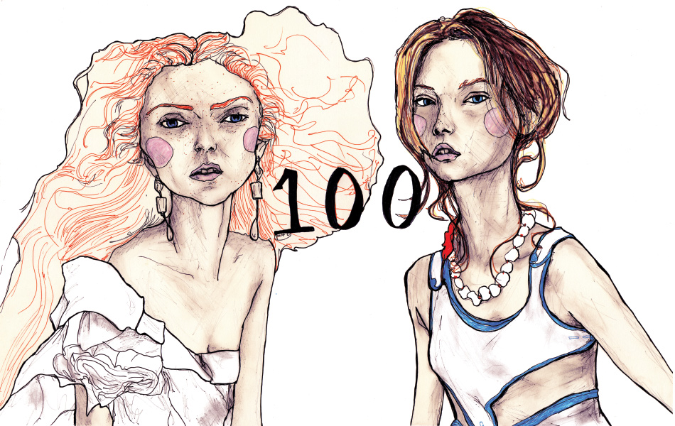Drawing number 100 out of artist Danny Roberts Lily Cole and Gemma Ward Book.