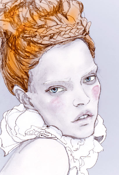 Danny Roberts drawing of Mina Cvetkovic from V magazine Editorial