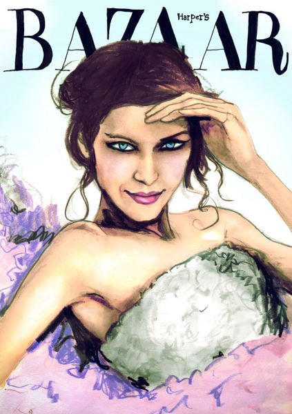 Danny Roberts Painting of Harpers Bazaar Magazine Cover With MTV Host Alexa Chung