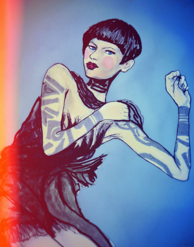 Danny Roberts Painting of Rodarte Collection for Sundance chanel full frontal fashion spring 2010