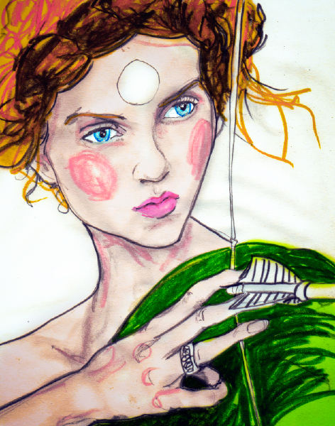 Danny Roberts newest Modelizing Drawing of Lily Cole with a Bow & Arrow