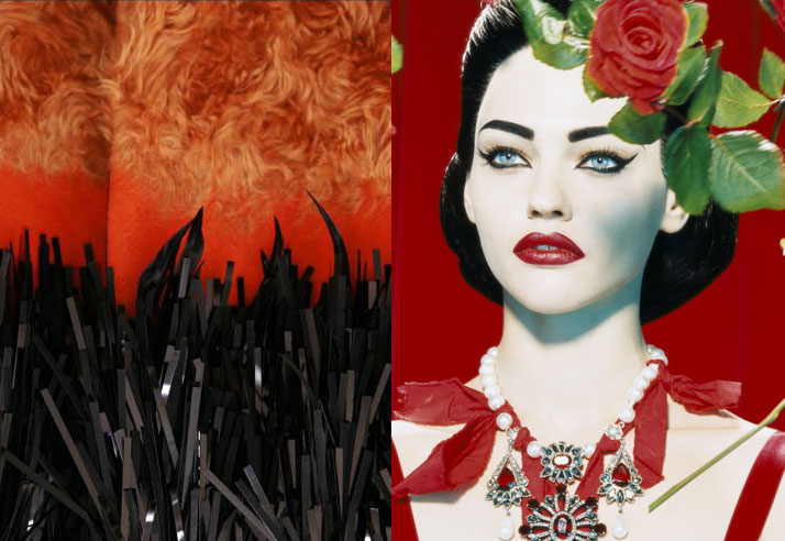 Miles Aldridge Photo of Sasha Pivovarova black and red lips and fire for Danny Roberts Inspiration Friday Post