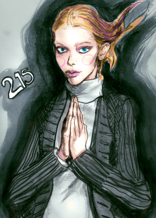 Danny Roberts Painting of tanya dziahileva Holding her Hand Like she is praying from Volume 3 of the Character Sketchbook