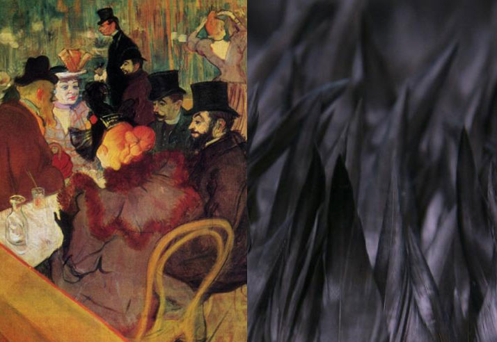 Toulouse Lautrec painting of a group of people coupled with a lined texture for Igor and andre Inspiration Friday Post