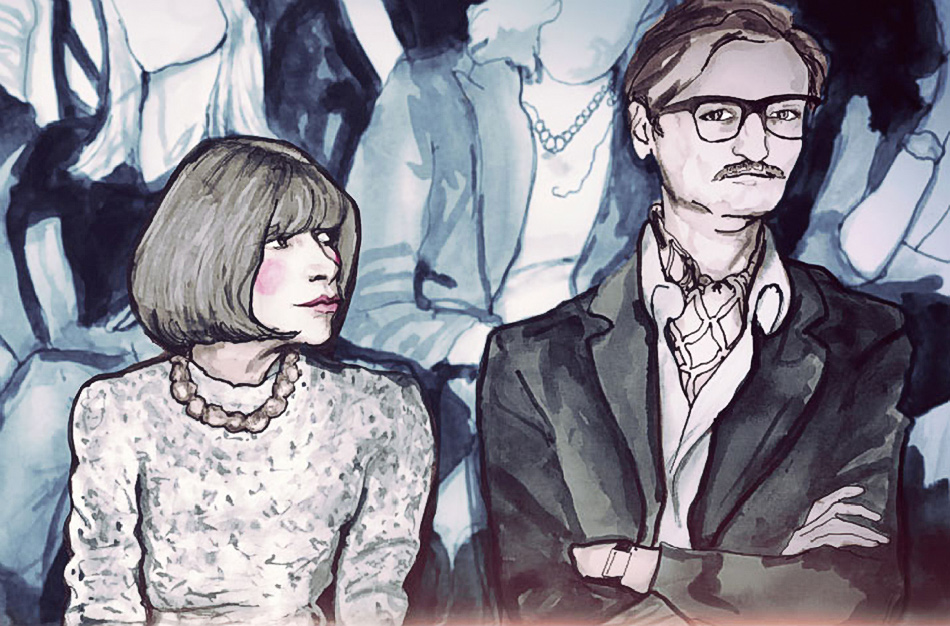 Anna Wintour, Hamish Bowles in Danny Roberts painting for bryanboy