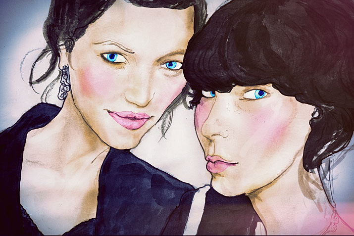 painting portrait of Julia Knolle and Jessica Weiss of german blog Les mads by artist danny roberts