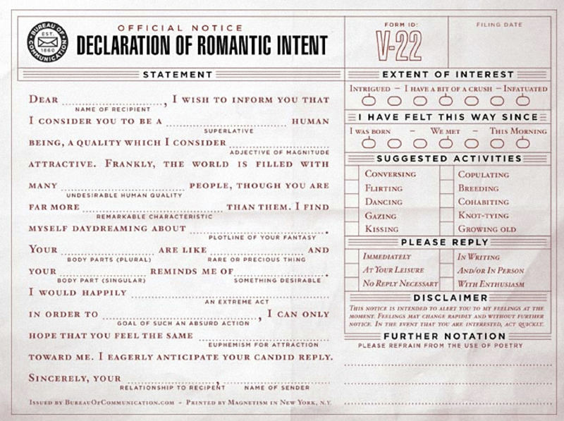 Declaration of Romantic Intent Form for Valentines day