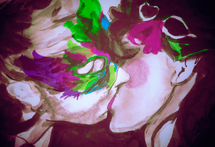 Danny Roberts Painting of a couple Kissing wearing bright colorful masks in a photo