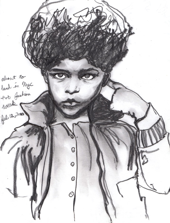 Little boy with a fro sketch by danny roberts Vogue Enfants