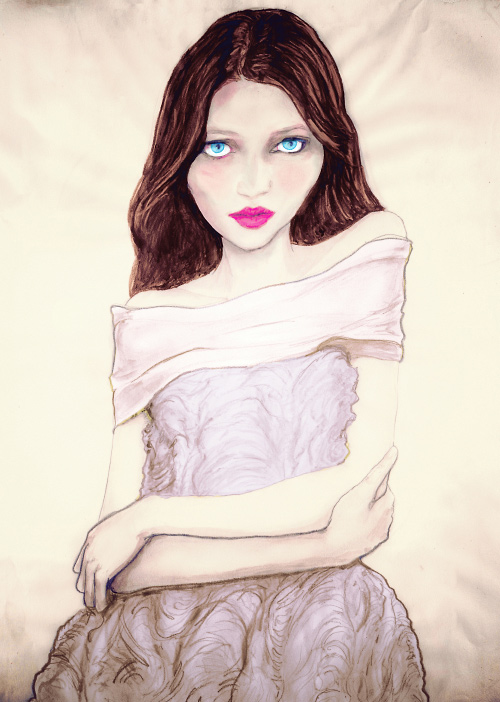 Danny Roberts fashion painting of Jason Wu Fall 2010 for Sundance channels Full Frontial Fashion