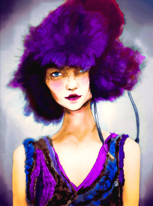 Igor and andre s Danny Roberts Fashion Artist painting of Christina b in a bright purple Fur Hat and a knit dress from Chris Benz new York Fashion Week Collection