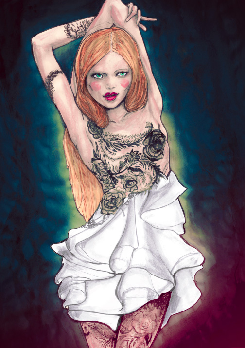 A Painting of Marchesa Fall 2010 collection by Danny Roberts for Sundance Channel Full Fontal Fashion