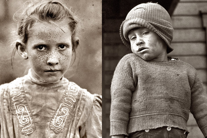 Two Sepia Great depression inspirational photos Freckle Faced girl and a boy with  dirty face and wearing a torn cap and sweater