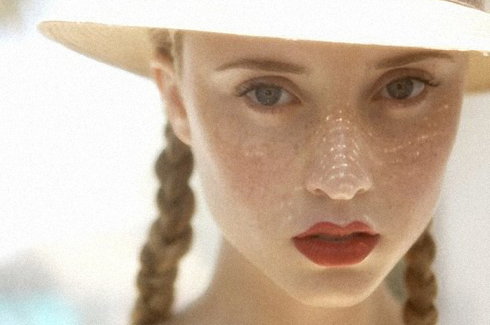 Beautiful Portrait of a young girl with Freckles, bright red lips, and 1950s style hat, and blond braided hair for Danny Roberts Inspiration Friday