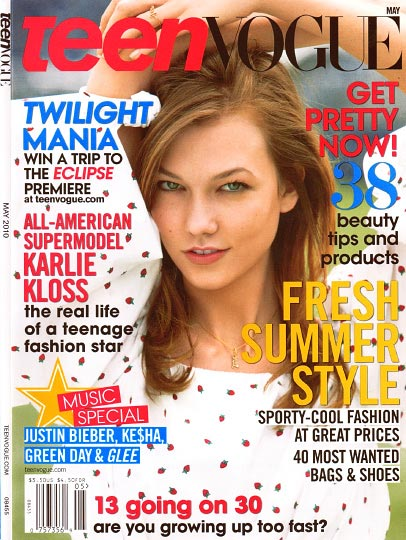 Karlie Kloss on the cover of teen Vogue may 2010 Photo by patrick demarchelier article by Jan Keltner