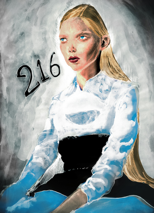 Igor and andre Danny Roberts Experimental Painting of Fashion Model Tanya Dziahileva Sitting in White Blue and yellow