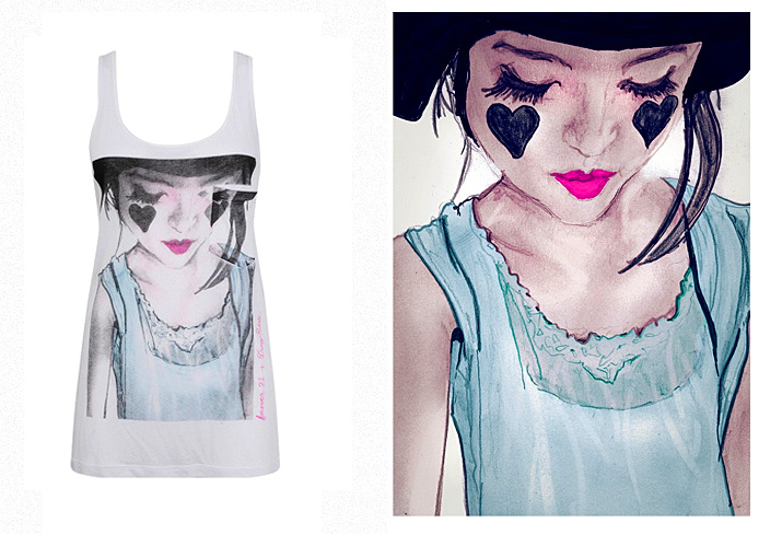 Danny Roberts Collaboration Tee for Forever21 the painting is of  Because im addicted LA Based style blogger Geri Hirsch