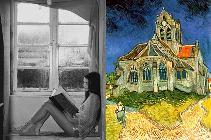 Black and white image of a girl sitting and reading storybook style in her window cel and a Vincent Van Gough bright color painting of a house