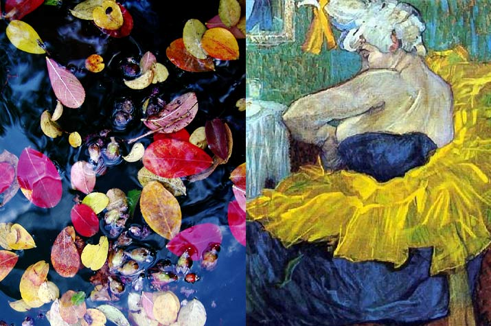 Brightly colored leaves pink and blue sitting in water and a Blue yellow, white, green painting by Henri de Toulouse-Lautrec of a woman sittings back
