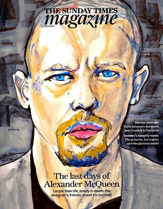 Fashion Artist Danny Roberts Tribute painting of the late Design lee alexander Mqueen on the cover of the sunday times Magazine london May 23 2010