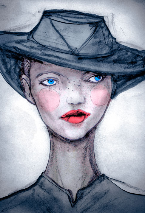 Igor and andre Arist Danny Roberts Painting of his Story Book Character Josette with blue eyes and a hat