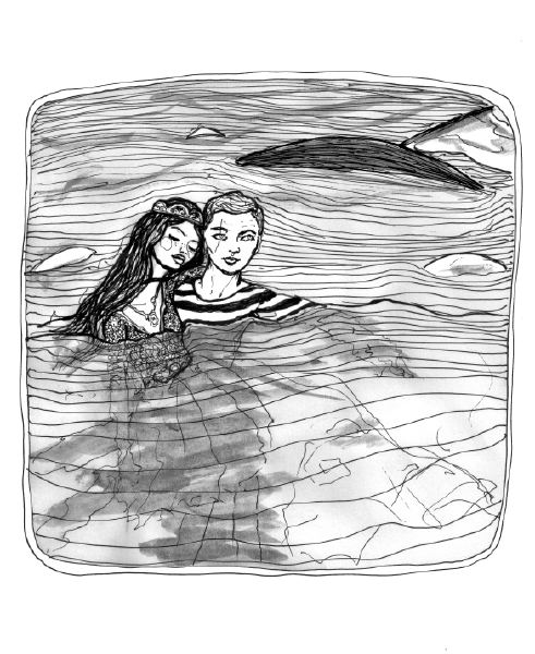 Danny Roberts and Josette in the water of a shipwreck