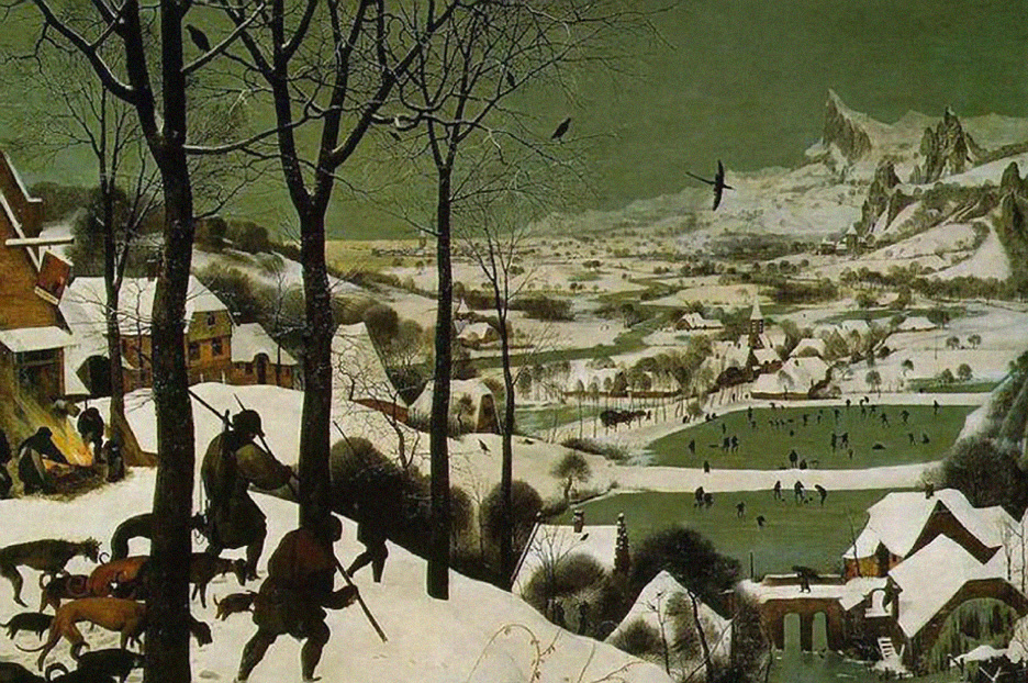 Pieter Bruegel the Elder Hunters in the Snow Painting of a green snowy landscape with foxes for Inspiration Friday