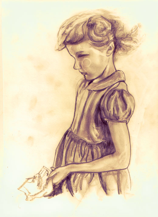 Artist Danny Roberts Sephia Sketch of Disney model for wendy of peter pan and alice in wonderland, Kathryn Beaumont as a kid in It Happened One Sunday