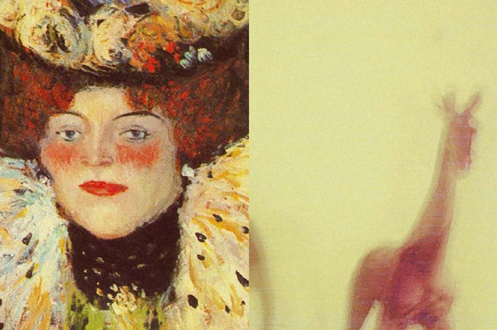 Artist Henri de Toulouse-Lautrec Painted portrait of a women with a hat and red hair and red lips and a yellow blurry photo of small red giraffe