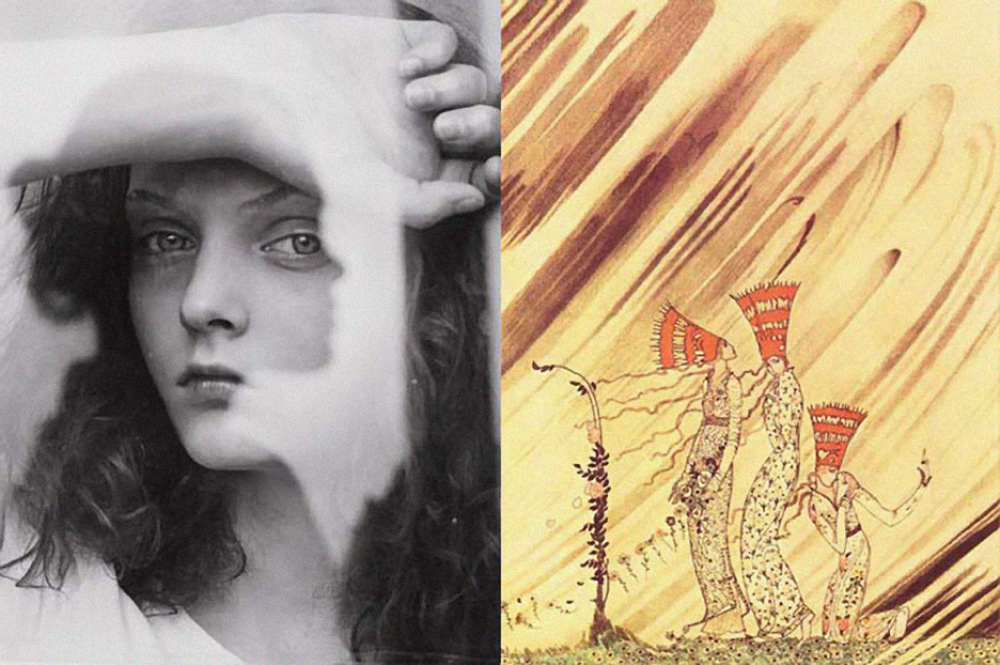 inspiration Friday image of 20th century Danish illustrator Kay Nielsen Fashion Illustration of 3 girls with big red hats and Photographer Lev Efimov black and white portrait of a girl with hand on forehead and girl reflection on mirror