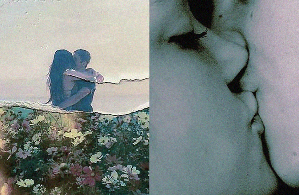 Two Inspiration Friday Images of guys and Girls Kissing close up and at the beach with Flower Wallpaper