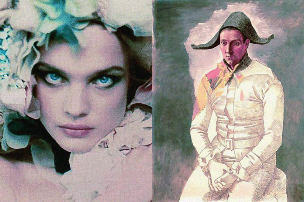 the lovely model Natialia Vodianova wearing a flowed hat, and Pablo Picasso half painted picture of Arlequin assis (Seated Harlequin)