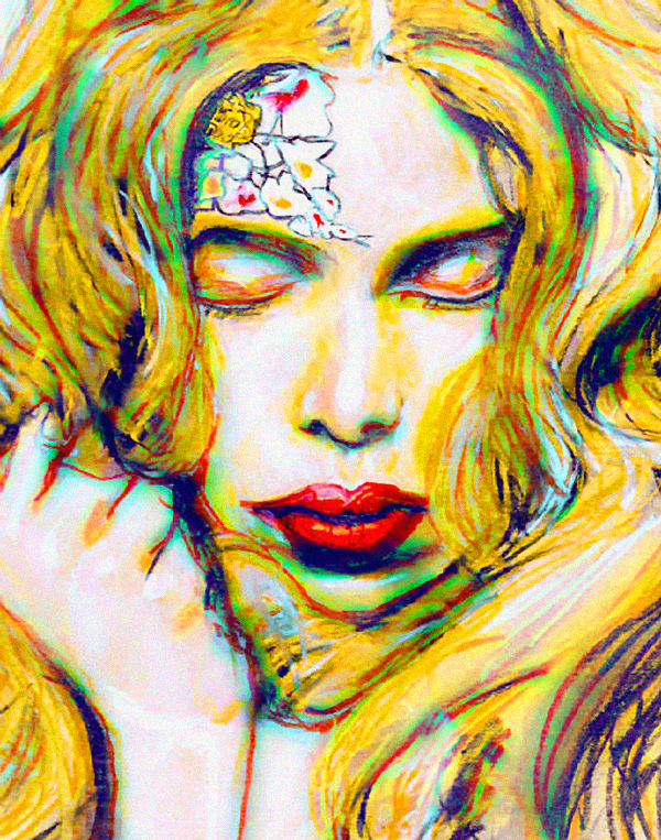 Fashion Artist Danny Roberts Painting of Fashion Model Tanya Dziahileva her eyes are closed and hair everywhere