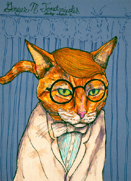 Danny Roberts Sketch of Ginger M. Toast Miester Study Sketch of a cat in a suit tuxedo