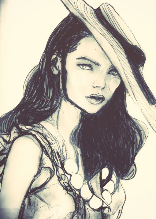 Danny Roberts Rough Draft Sketch of IMG Fashion Model Mona Johannesson starring wearing a hat