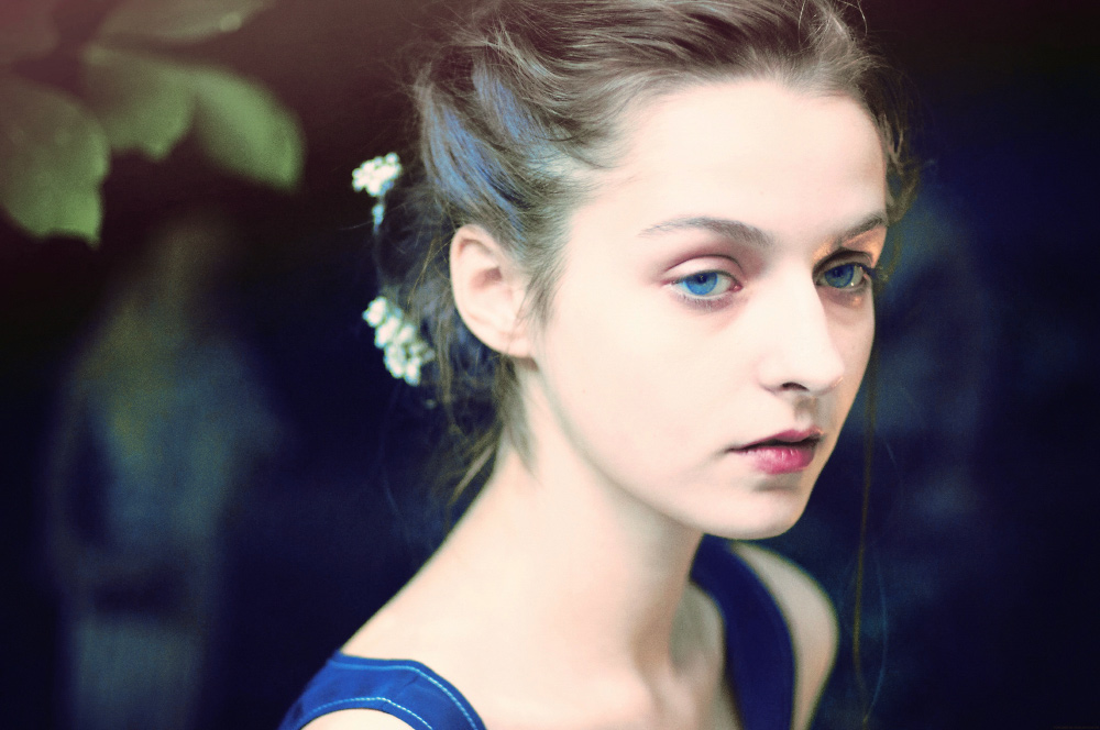 igor and andre Artist Danny Roberts Portrait of Major Management model Ekatarina Sokolova profile brightest blue eyes At Rachel Antonoff Presentation Spring 2011