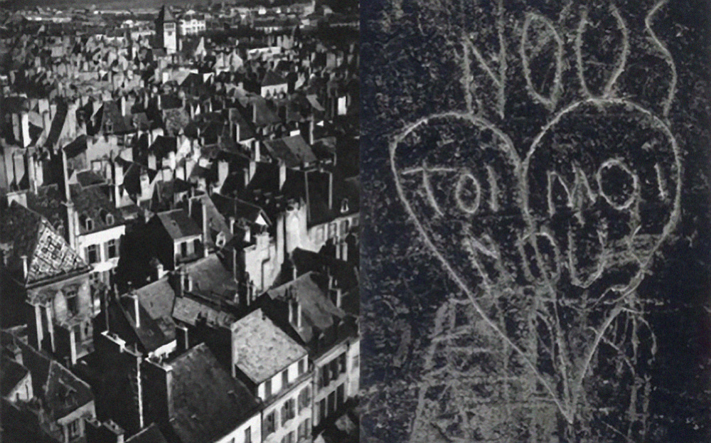 Two Black and White Inspiraltion Photographs by Hungarian Photographer Brassaï or Gyula Halász. The first Picture is of aerial picture of City roof tops of old building. The Second Picture is of dark wall with a heart and toi and Moi carved in the material